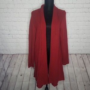 NY Collection Red Chunky Knit Open Front Cardigan